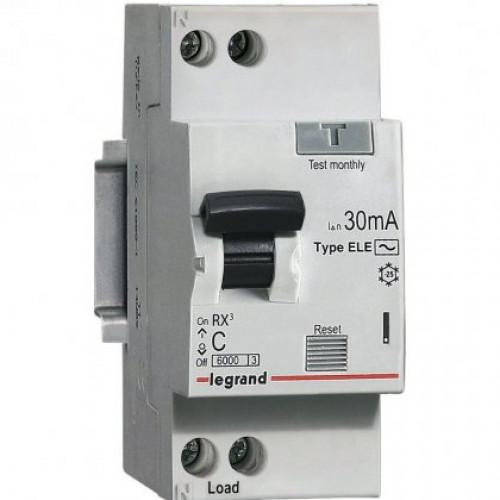 Автоматический выключатель дифференциального тока  АВДТ Rx3 30мA 16А 1П+Н AС 419399