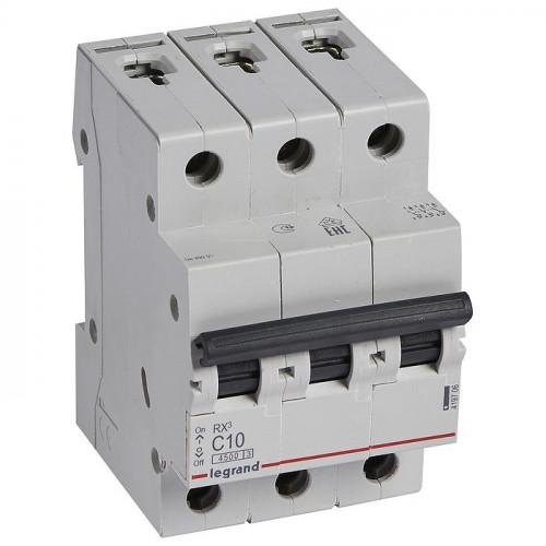 Автоматический выключатель трехполюсный RX3  4,5кА 10А 3П C 419706