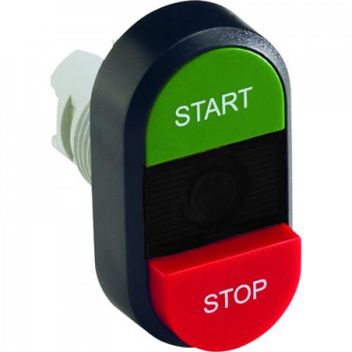 Кнопка двойная MPD15-11B (зеленая/красная-выступающая) непрозрач ная черная линза с текстом (START/STOP) 1SFA611144R1106