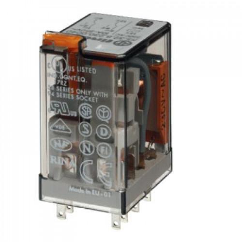 Миниатюрное универсальное электромеханическое реле;  2CO 10A;  катушка 240В АC;опции: кнопка тест + мех.индикатор 553282400040