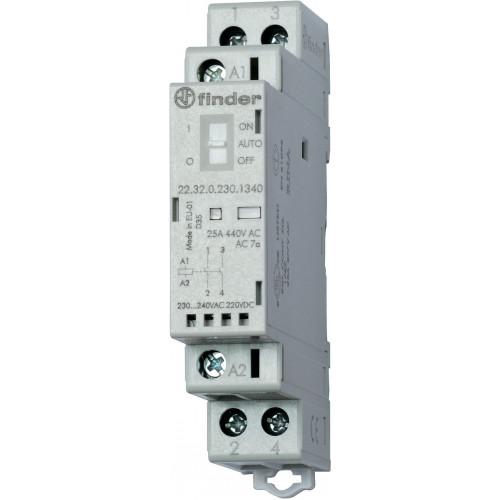 Модульный контактор; 2NO 25А; катушка 24В АС/DC;  опции: переключатель Авто-Вкл-Выкл + мех.индикатор + LED 223200244340
