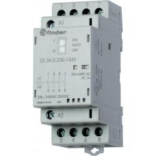 Модульный контактор; 2NO+2NC 25А;  катушка 12В АС/DC; опции: переключатель Авто-Вкл-Выкл + мех.индикатор + LED