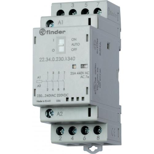 Модульный контактор; 3NO+1NC 25А; катушка 230В АС/DC; опции: мех.индикатор + LED 223402304720