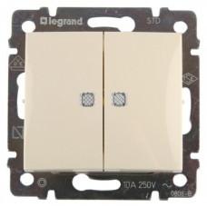 Переключатель Legrand Valena 2напр 2-х клавишный с подсветкой (слоновая кость)  774112