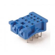 Розетка для монтажа на панель под пайку для реле 55.33; в комплекте металлическая клипса 094.51