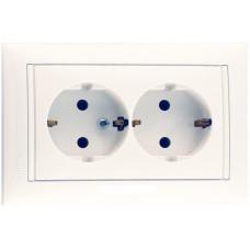 Розетка двойная (моноблок) Legrand Valena с заземлением (белый)    774400
